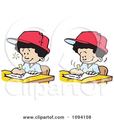 Clipart Creative Boys Writing Down Ideas - Royalty Free Vector Illustration by Johnny Sajem