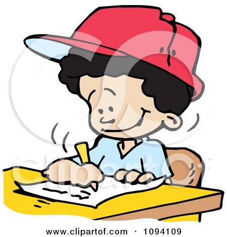 Clipart Happy Boy Writing - Royalty Free Vector Illustration by Johnny Sajem