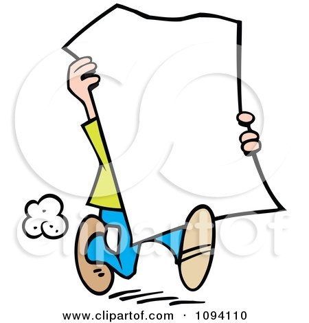 Clipart Man Carrying A Blank Sign - Royalty Free Vector Illustration by Johnny Sajem