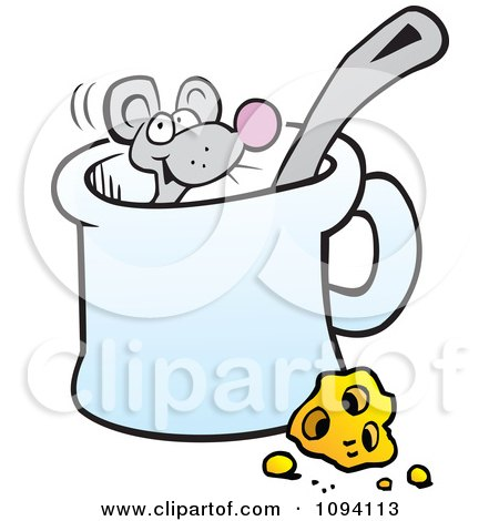 Clipart Mouse In A Mug By Cheese - Royalty Free Vector Illustration by Johnny Sajem