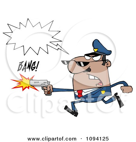 Clipart Male African American Police Officer Running With A Gun - Royalty Free Vector Illustration by Hit Toon
