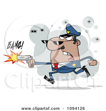 Clipart Male Black Police Officer Shooting A Gun - Royalty Free Vector Illustration by Hit Toon