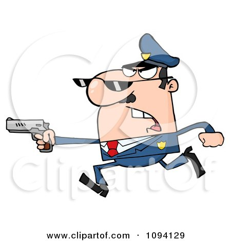 Clipart Male Caucasian Police Officer Running With A Gun - Royalty Free Vector Illustration by Hit Toon
