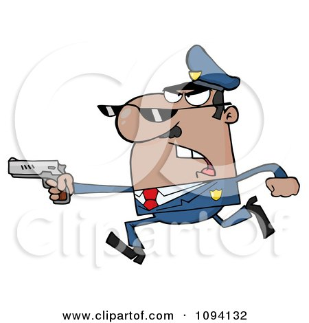 Clipart Male Black Police Officer Running With A Gun Royalty Free Vector Illustration