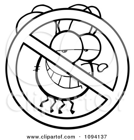 Clipart Outlined Restricted Symbol Over A Grinning Fly - Royalty Free Vector Illustration by Hit Toon