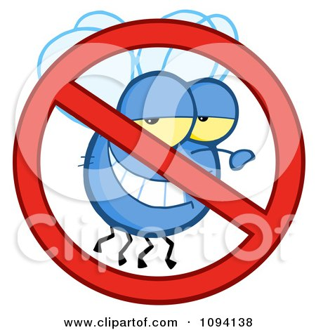Clipart Restricted Symbol Over A Grinning Fly - Royalty Free Vector Illustration by Hit Toon