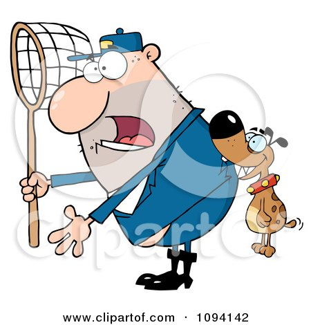 Clipart Dog Biting A Catcher In The Butt - Royalty Free Vector Illustration by Hit Toon