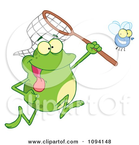 Clipart Green Frog Catching A Bug With A Net - Royalty Free Vector Illustration by Hit Toon