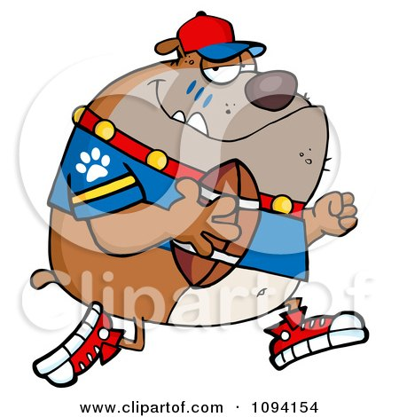 Clipart Brown Bulldog Football Player Running - Royalty Free Vector Illustration by Hit Toon
