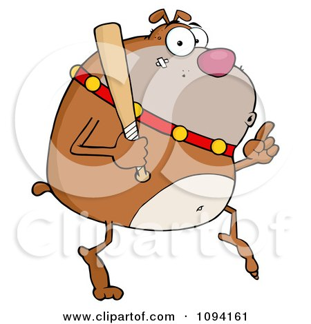 Clipart Brown Bulldog Sneaking Around On Tip Toes With A Bat - Royalty Free Vector Illustration by Hit Toon