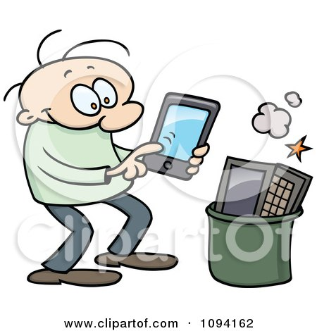 Clipart Happy Man Using A Tablet And Tossing His Laptop In The Trash - Royalty Free Vector Illustration by gnurf