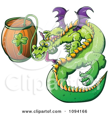 Clipart St Patricks Day Dragon Drinking From A Beer Keg - Royalty Free Vector Illustration by Zooco