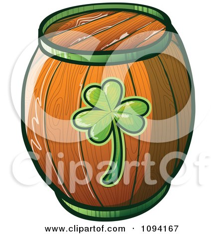 Clipart St Patricks Day Barrel Beer Keg - Royalty Free Vector Illustration by Zooco