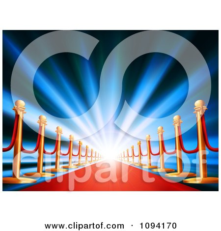 Clipart Blue Light Shining Over A Red Carpet - Royalty Free Vector Illustration by AtStockIllustration