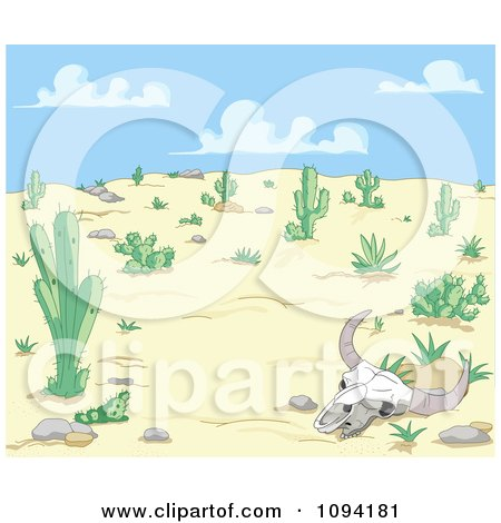 Clipart Cow Skull In A Dry Desert Landscape - Royalty Free Vector Illustration by Pushkin