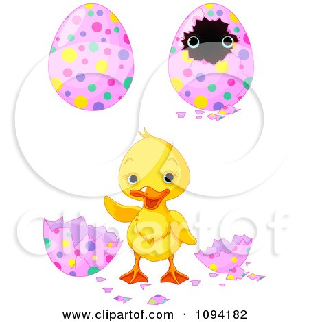 Clipart Cute Easter Duckling And Decorated Eggs - Royalty Free Vector Illustration by Pushkin
