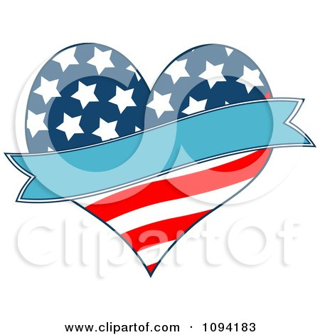 Clipart Patriotic American Heart With A Blue Banner - Royalty Free Vector Illustration by Pushkin
