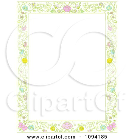 Clipart Beautiful Ornate Floral Frame With White Copyspace - Royalty Free Vector Illustration by Pushkin