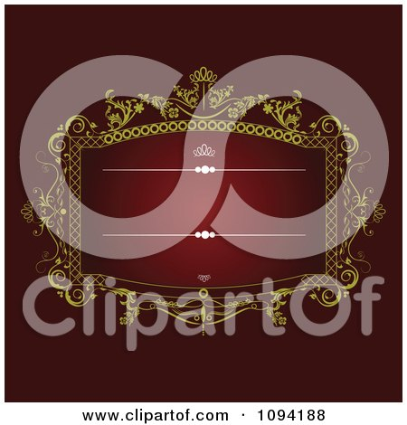 Clipart Ornate Red And Gold Victorian Invitation Background With Copyspace 4 - Royalty Free Vector Illustration by leonid