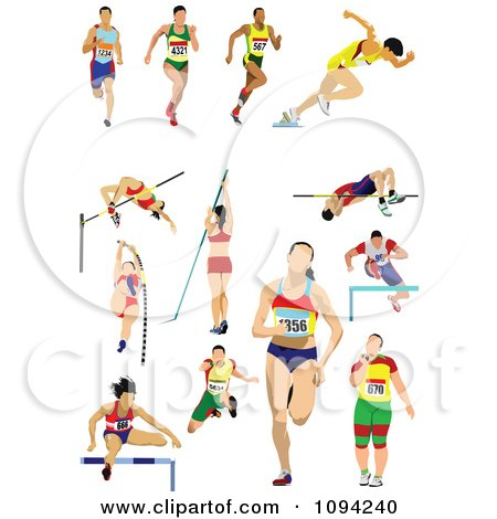 Clipart Track And Field Athletes - Royalty Free Vector Illustration by leonid