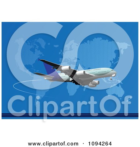 Clipart Jumbo Jet Airliner Over A World Map On Blue - Royalty Free Vector Illustration by leonid