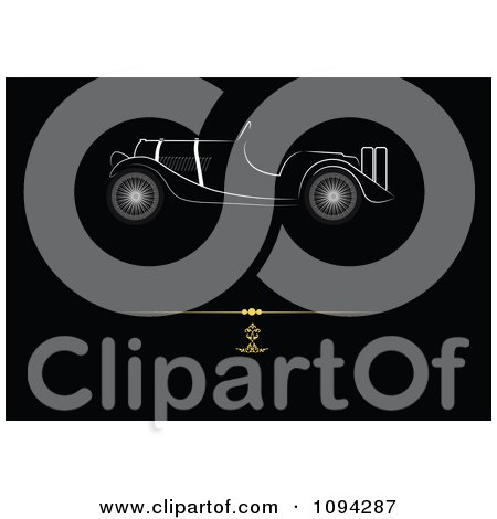 Clipart White Antique Car In Profile Over A Gold Rule On Black - Royalty Free Vector Illustration by leonid