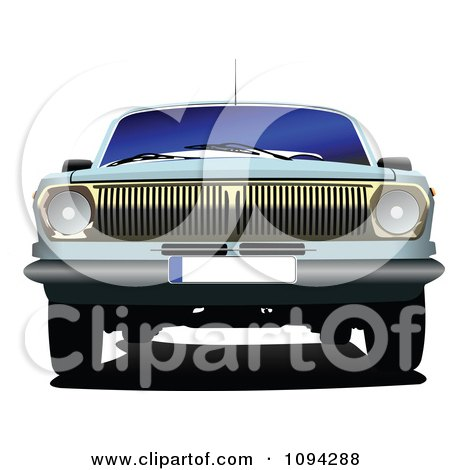 Clipart The Front Of A Blue Vintage Car - Royalty Free Vector Illustration by leonid