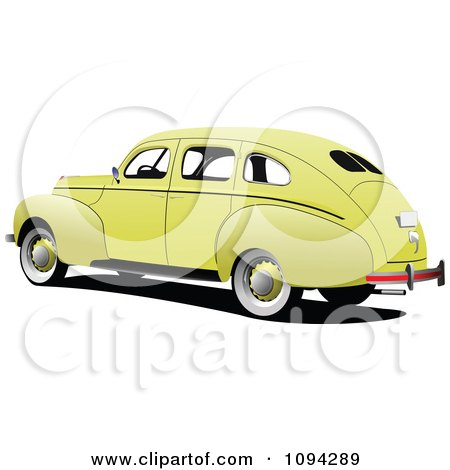 Clipart Vintage Yellow Car - Royalty Free Vector Illustration by leonid