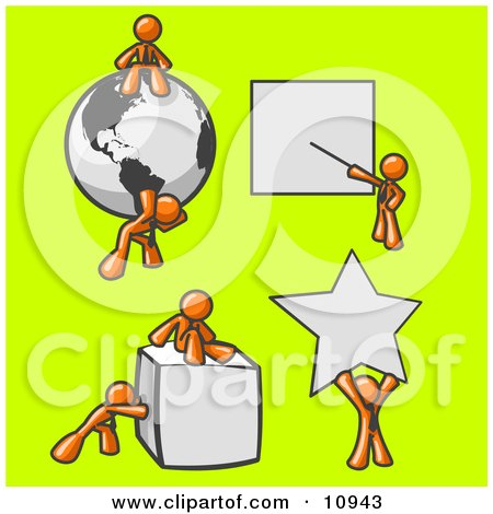 Orange Men With a Globe, Presentation Board, Cube and Star Clipart Illustration by Leo Blanchette