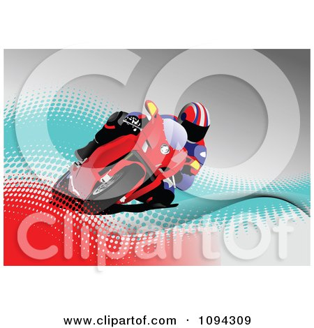 Clipart Person Riding A Motorcycle 3 - Royalty Free Vector Illustration by leonid