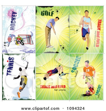 Clipart Grungy Sport Athletes - Royalty Free Vector Illustration by leonid