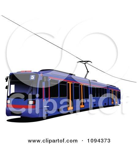 Clipart Blue Public Transport Tram - Royalty Free Vector Illustration by leonid