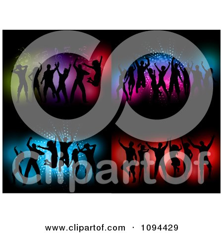 Clipart Silhouetted Dance Teams Over Colorful Blue And Red Backgrounds - Royalty Free Vector Illustration by KJ Pargeter