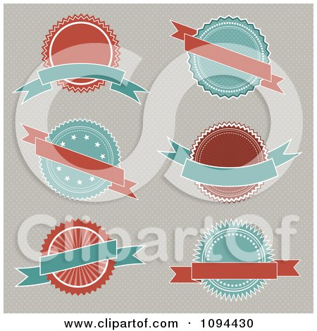 Clipart Retro Turquoise And Red Badges With Banners - Royalty Free Vector Illustration by KJ Pargeter