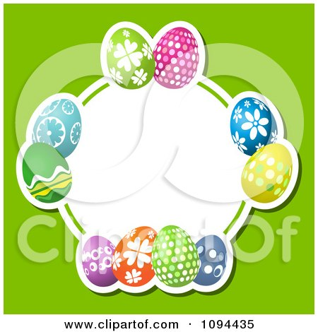 Clipart Colorful Easter Eggs Forming A Circular Frame Over Green - Royalty Free Vector Illustration by KJ Pargeter