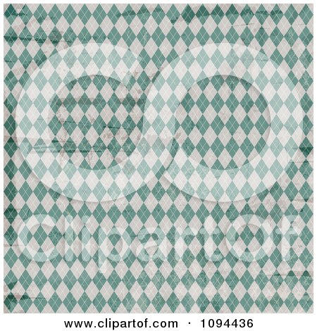 Clipart Worn Grungy Green And White Argyle Pattern - Royalty Free Vector Illustration by KJ Pargeter