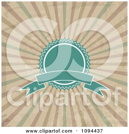 Clipart Vintage Turquoise Label Badge And Banner Over Grungy Rays - Royalty Free Vector Illustration by KJ Pargeter