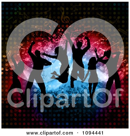 Clipart Silhouetted Dance Team Jumping Over Splatters Notes And Halftone - Royalty Free Vector Illustration by KJ Pargeter