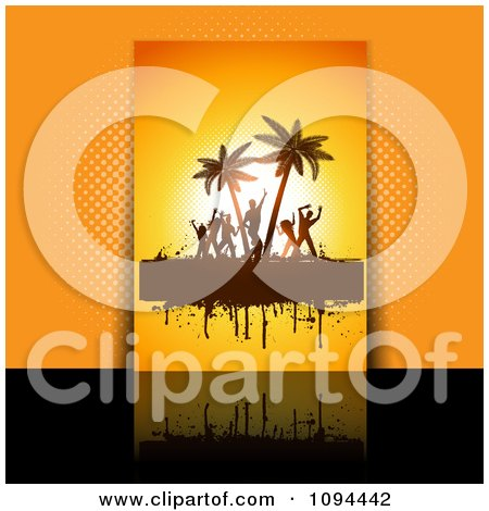 Clipart Grungy Orange Dance Party Flyer Over Orange And Black - Royalty Free Vector Illustration by KJ Pargeter