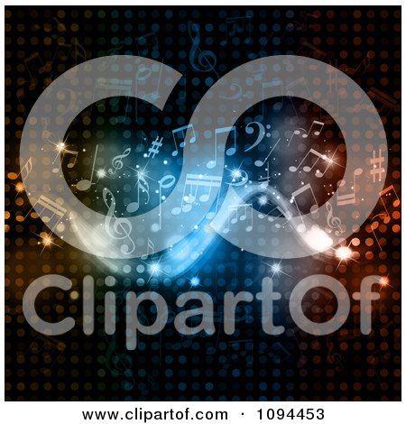 Clipart Flowing Music Notes And Lights On Halftone Dots - Royalty Free Vector Illustration by KJ Pargeter