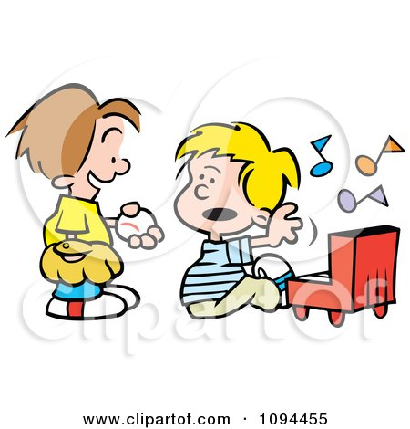 Clipart Boy Trying To Talk His Friend Into Playing Baseball Instead Of The Piano - Royalty Free Vector Illustration by Johnny Sajem