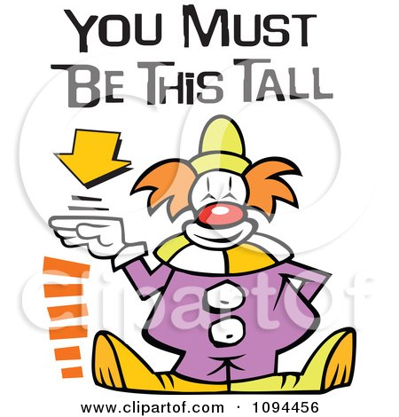 Clipart Carnival Clown Standing By A Height Sign With You Must Be This Tall Text - Royalty Free Vector Illustration by Johnny Sajem