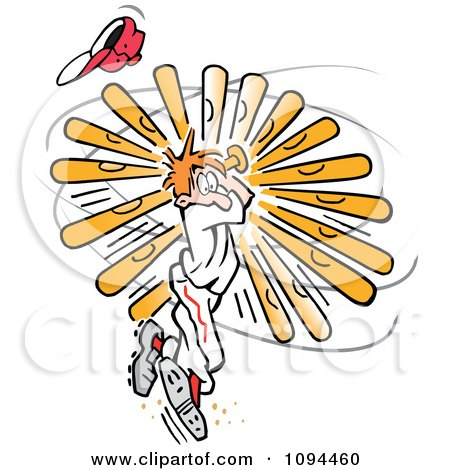 Clipart Baseball Player Twisting Himself In A Strong Swing - Royalty Free Vector Illustration by Johnny Sajem