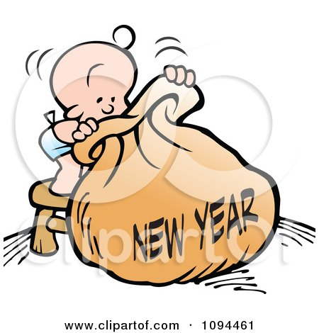Clipart Baby Standing On A Stool And Peeping Into A New Year Bag - Royalty Free Vector Illustration by Johnny Sajem