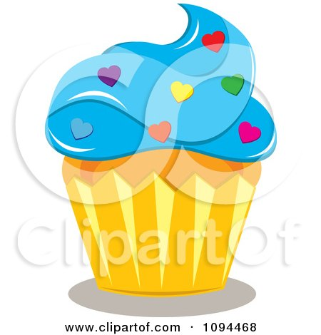 Blue Valentine Review on Clipart Valentine Cupcake With Blue Frosting And Heart Sprinkles