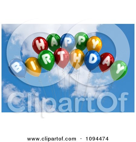 Clipart 3d Colorful Happy Birthday Balloons In The Sky - Royalty Free CGI Illustration by stockillustrations