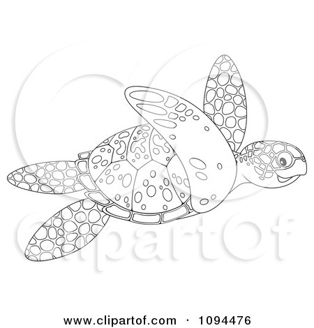 Clipart Outlined Sea Turtle Swimming - Royalty Free Illustration by Alex Bannykh