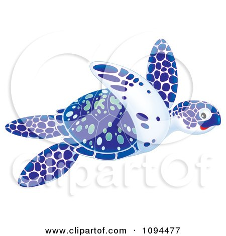 Clipart Swimming Blue White And Green Sea Turtle - Royalty Free Illustration by Alex Bannykh