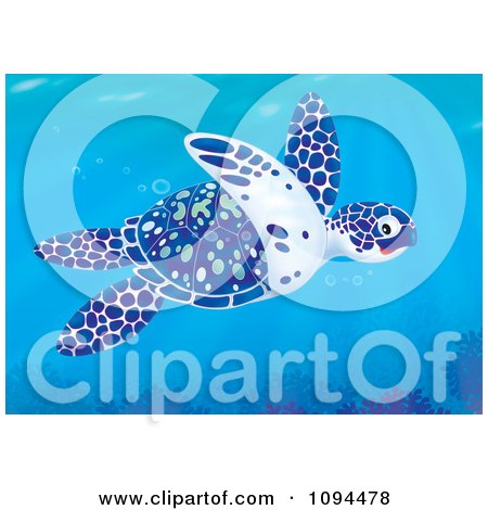 Clipart Blue White And Green Sea Turtle Swimming In The Ocean - Royalty Free Illustration by Alex Bannykh