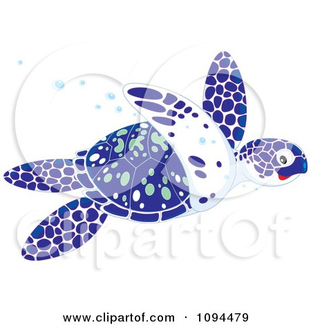 Clipart Blue White And Green Sea Turtle Swimming - Royalty Free Vector Illustration by Alex Bannykh